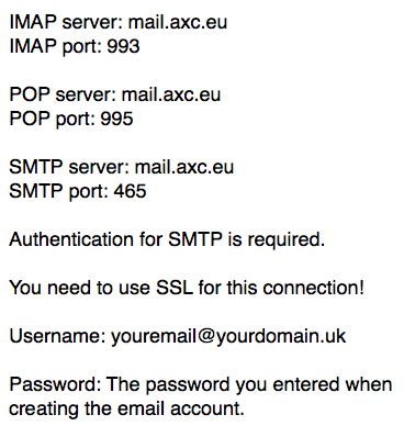 What are the POP, IMAP and SMTP details of my e-mail account