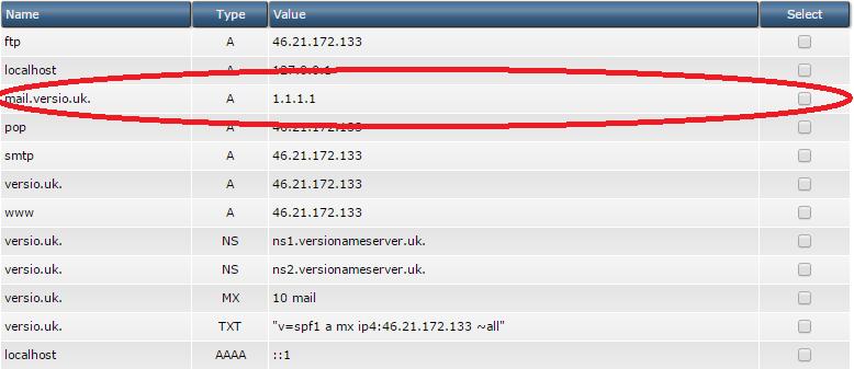 Configure external mailserver / Change MX record - Versio